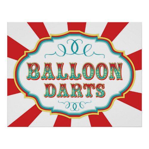 Carnival Game Sign Balloon Darts Circus Birthday Party Circus