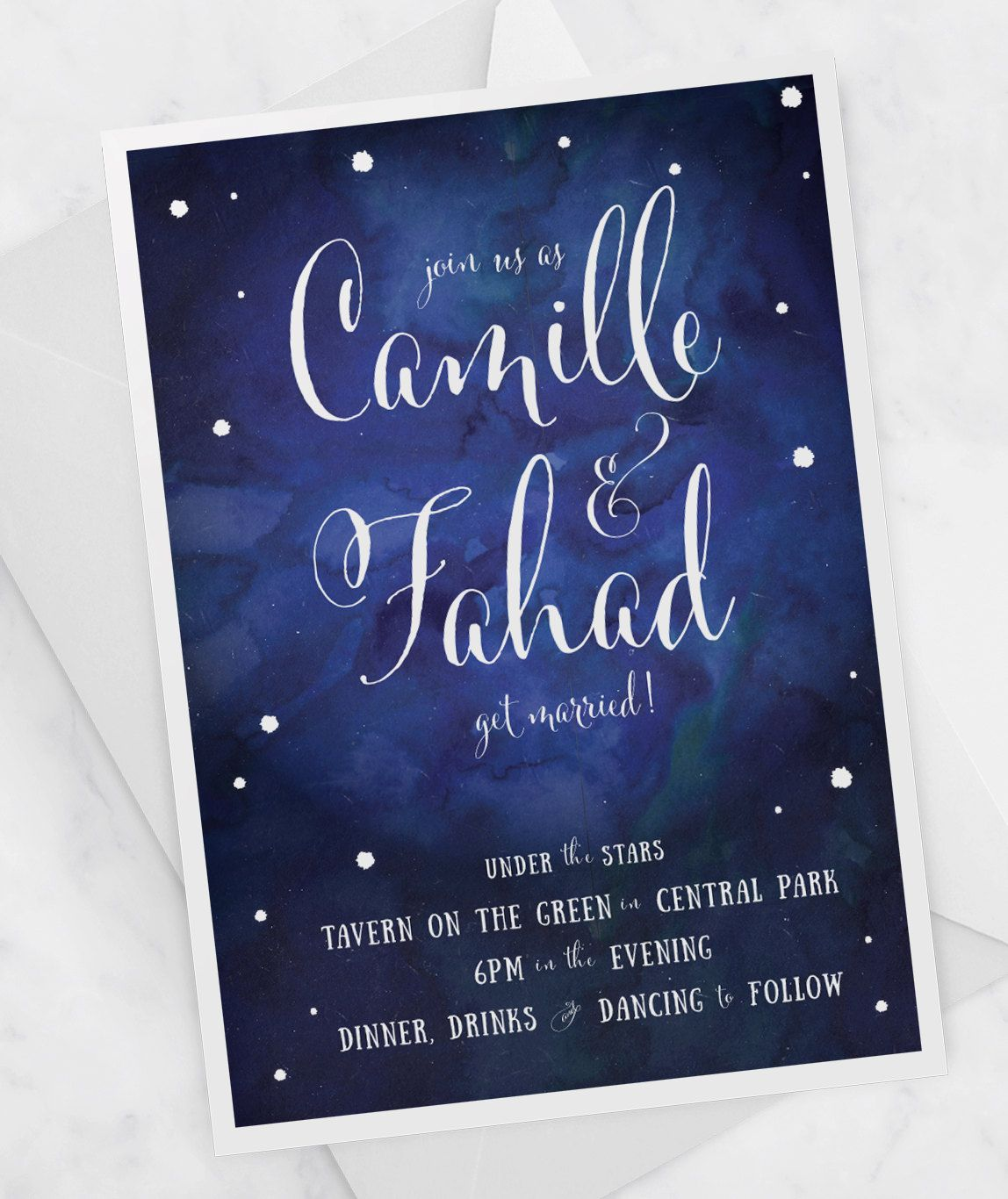 The Zoe Watercolor Wedding Invitation Constellation Wedding