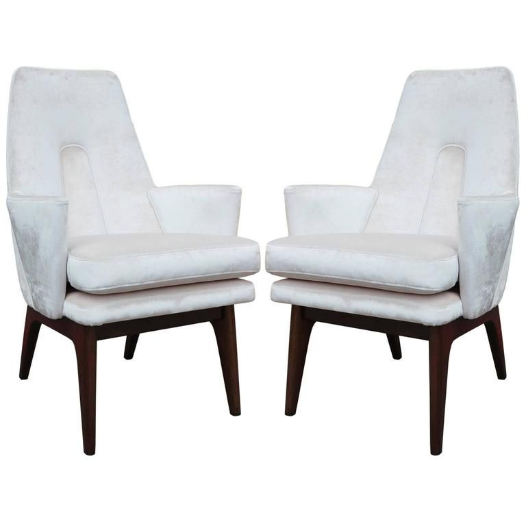 Excellent Pair of Adrian Pearsall High Back Lounge Chairs | From a unique collection of antique and modern lounge chairs at https://www.1stdibs.com/furniture/seating/lounge-chairs/