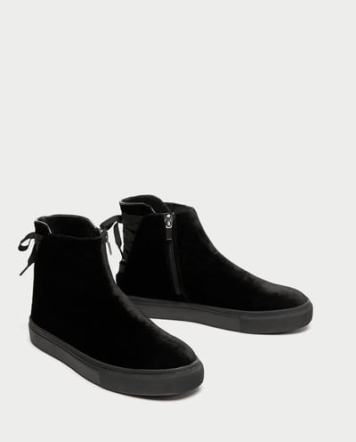 2a5bdff412 VELVET HIGH-TOP SNEAKERS-View all-SHOES-WOMAN