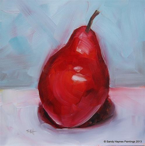 """Crimson pear   No. 116"" - Original Fine Art for Sale - © Sandy Haynes"