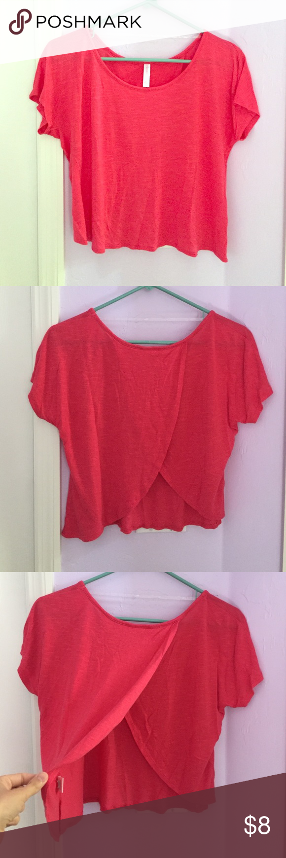 Xhilaration Crop Top Xhilaration Crop Top. Red / pink / coral color. Worn once. No defects. Back opening. Size XS. No trades, please. Price firm. Xhilaration Tops Crop Tops