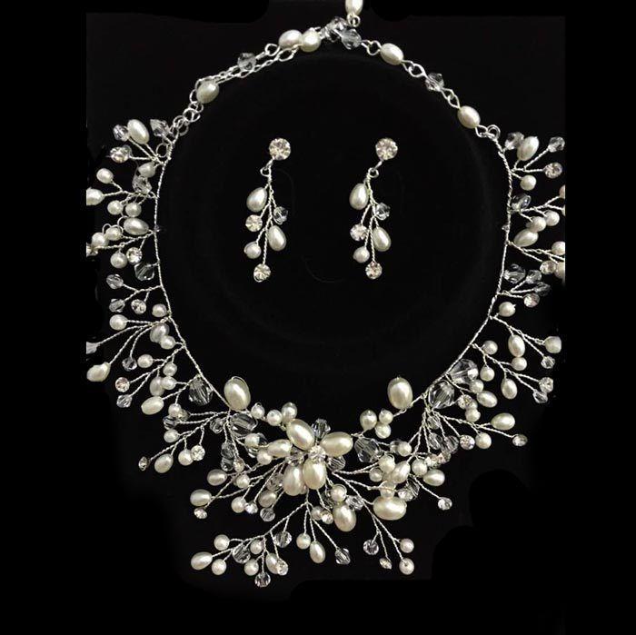 Luxury Handmade Vintage Wedding Jewelry Set Bridal Necklace Earring