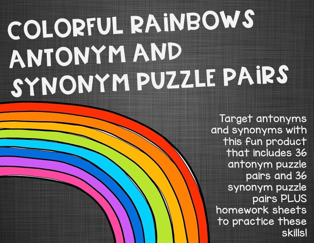 Colorful Rainbows Antonym and Synonym Puzzle Pairs ...