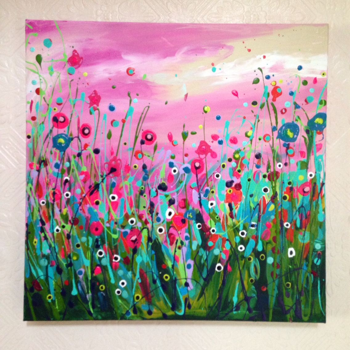 Light Up My Life 50x50cm Abstract Acrylic Floral Flower Field