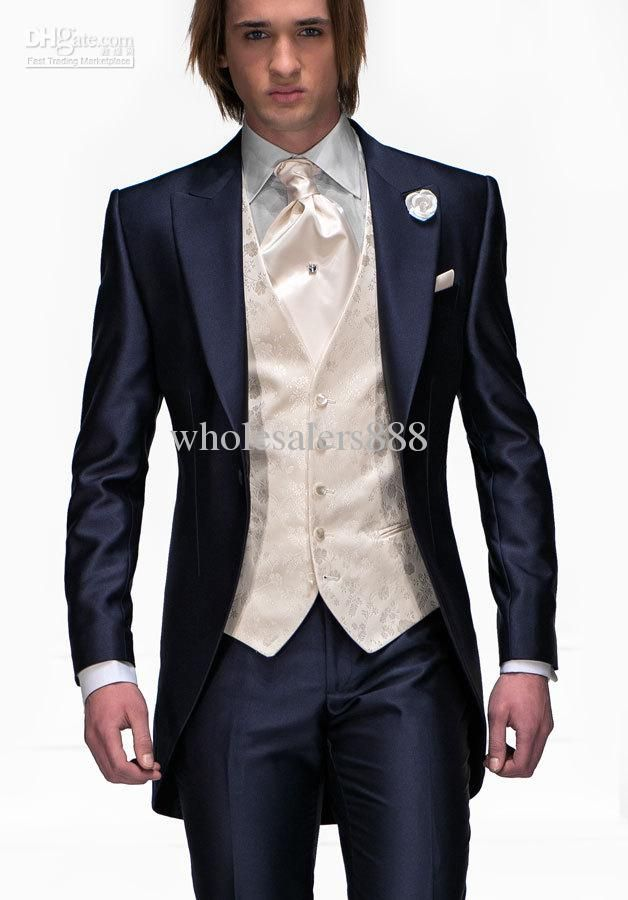 Morning Style Navy Blue One Button Groom Tuxedos Best Man Peak ...
