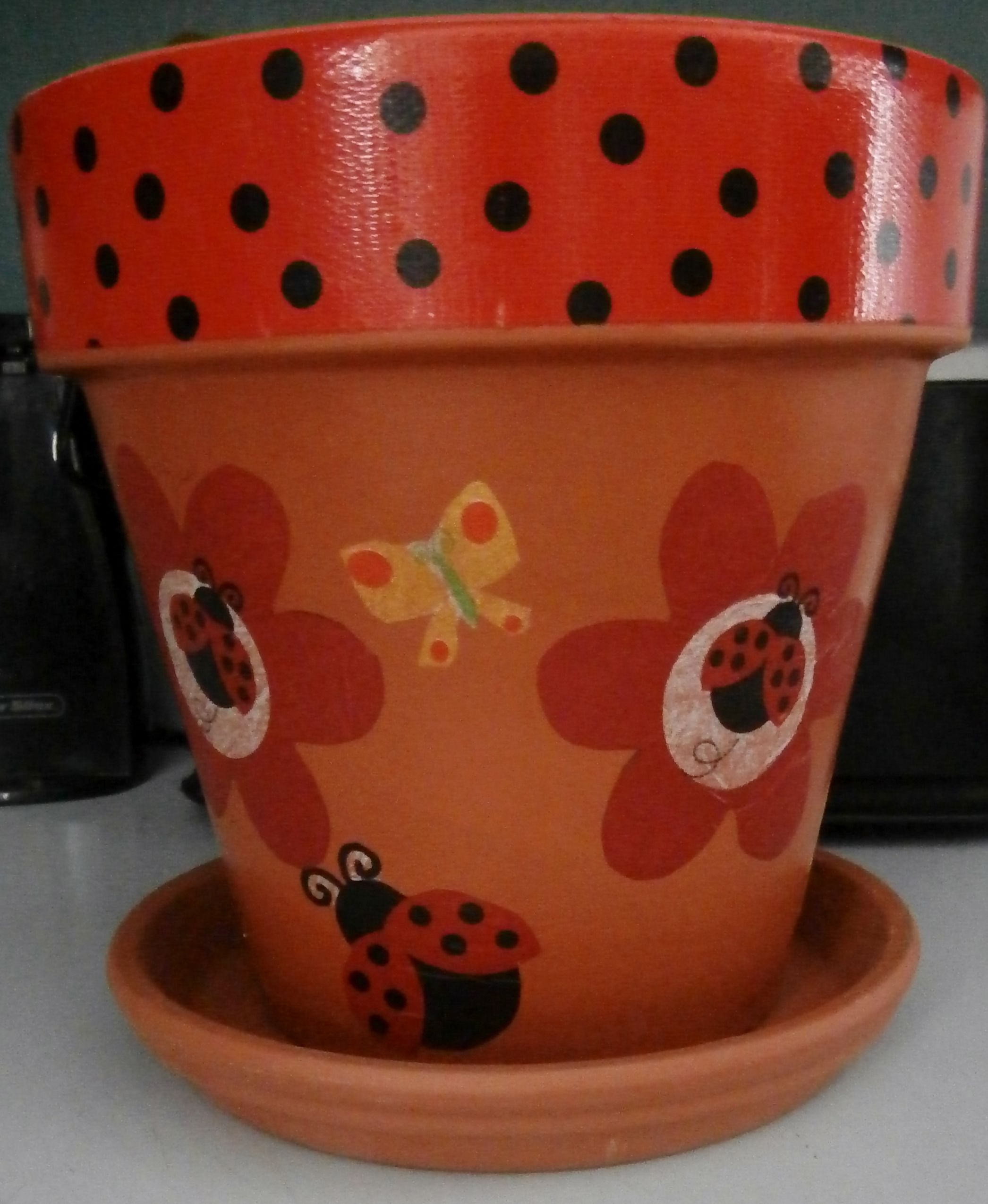 lady bug flower pot i made 5/17/13.   my completed craft projects
