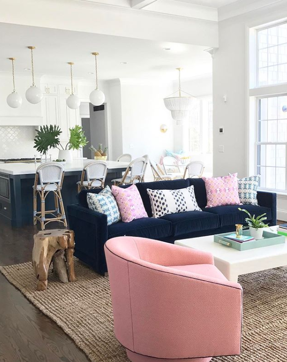 Navy Blue And Pink Bedroom Inspiration Dream Of Home Navy Sofa Living Room Blue And Pink Living Room Blue And Pink Bedroom