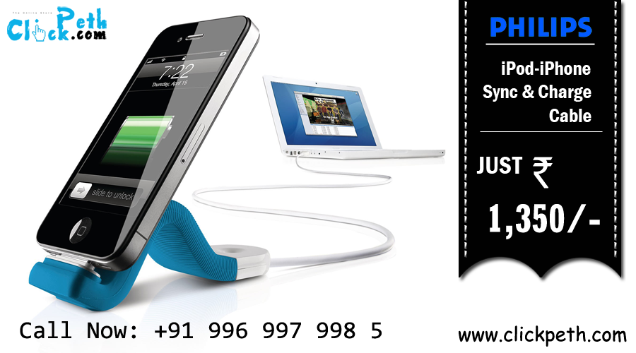 Keep Your #iPhone & #iPod Fully Charged with #Philips iPod-iPhone Sync & Charge Cable Clickpeth.com Or Call Now : +91 996-997-998-5 Cash on Delivery,Free Home Delivery Available in Mumbai