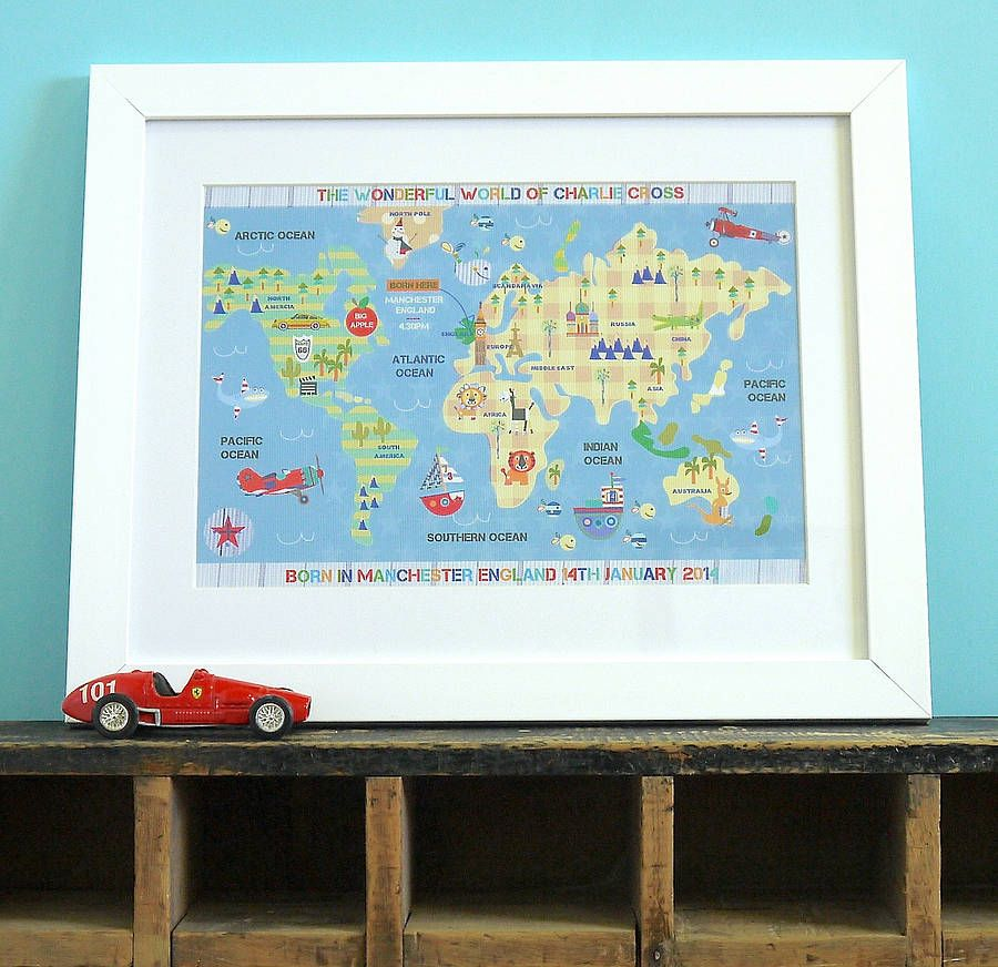 Personalised childrens map of the world print child friendly personalised childrens map of the world print gumiabroncs Choice Image
