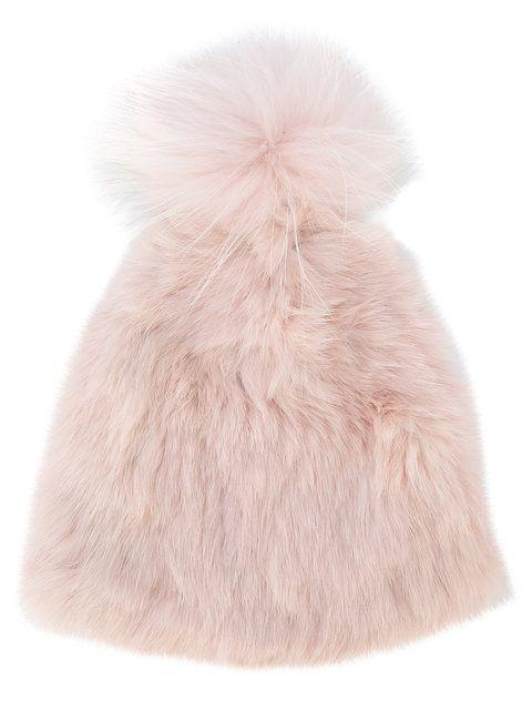 dac8d477 YVES SALOMON ACCESSORIES . #yvessalomonaccessories # Pom Pom Hat, Rabbit Fur,  Blush Pink