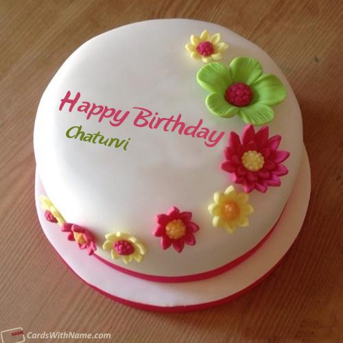 Chaturvi Name Card Birthday Cake With Flowers Birthday Cake