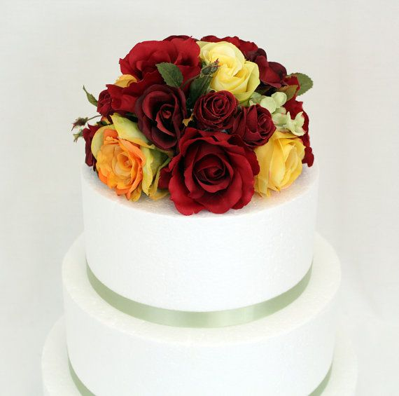 Wedding Cake Topper Red Yellow Rose by ItTopsTheCake on Etsy, $39.99