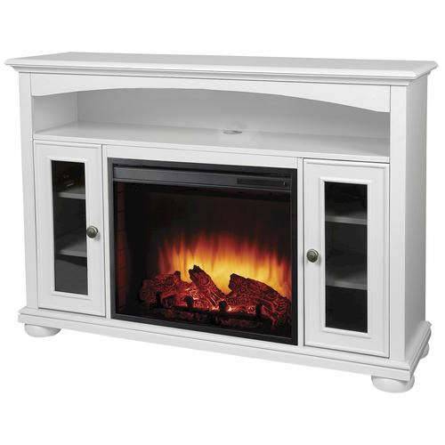 23 Easton Bleached Linen Media Electric Fireplace W Remote At
