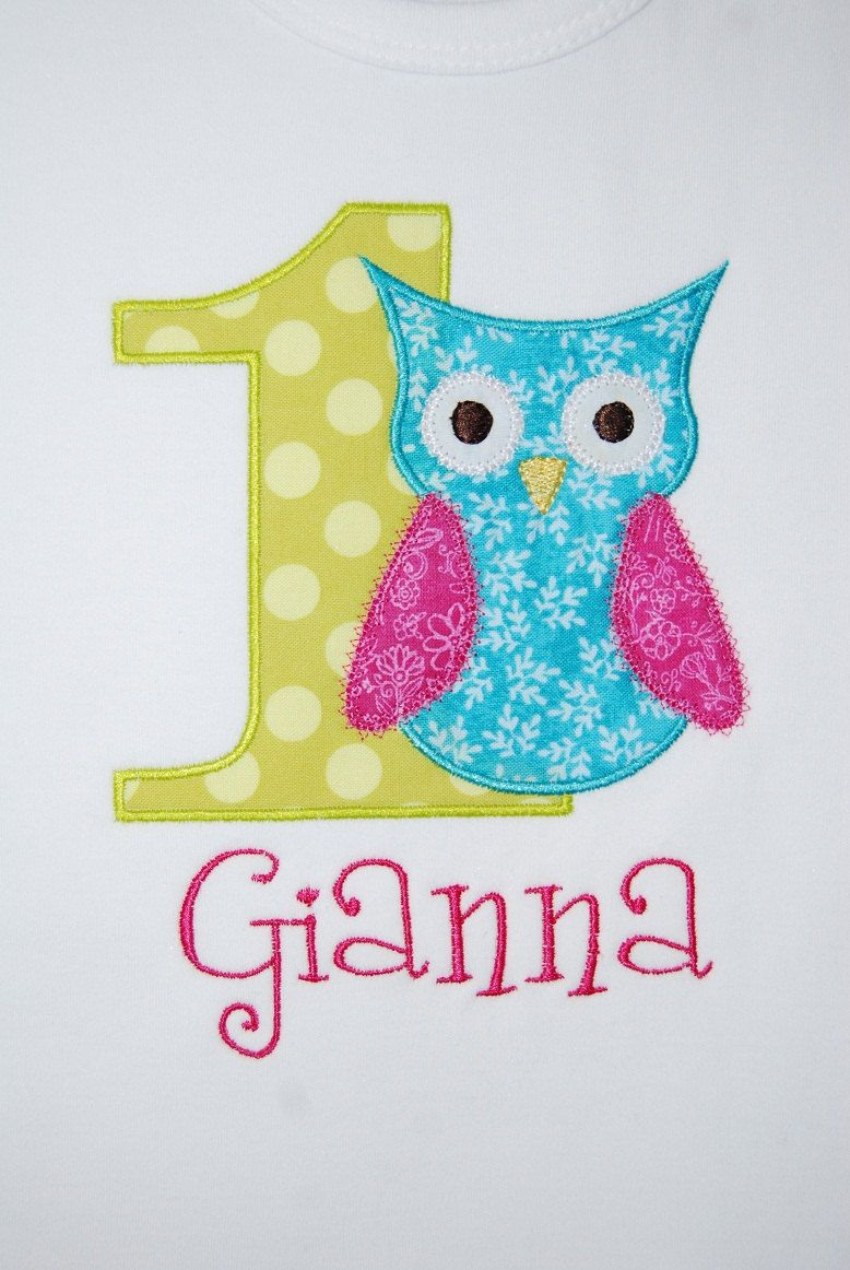 INSTANT DOWNLOAD, Machine Applique Design, Number One with Owl ...