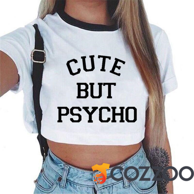 17f21564ce6 Cute But Psycho T-Shirts - Women s Crew Neck Novelty Crop Top https