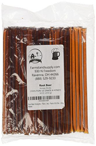 Root Beer Honeystix - Flavored Honey - Pack of 50 Stix - 250g - http://flowersnhoney.com/root-beer-honeystix-flavored-honey-pack-of-50-stix-250g/
