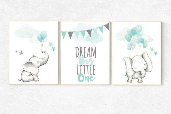 Nursery Decor Elephant Mint Nursery Decor Dream Big Little One