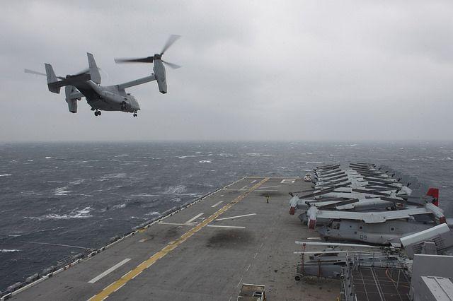 An MV-22 Osprey tiltrotor aircraft assigned to Marine Medium Tiltrotor Squadron (VMM) 265 takes off from the amphibious assault ship USS Bonhomme Richard (LHD 6).  #USNavy