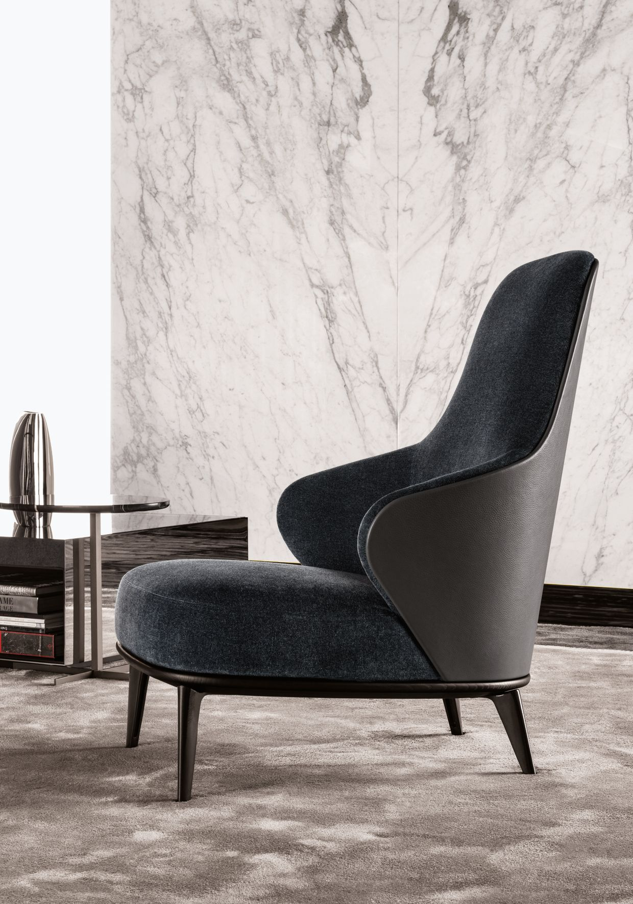 Bergere High Back Fabric Armchair Leslie Collection By