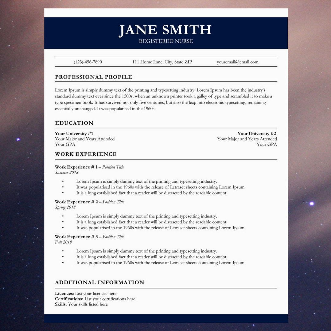 Medical Resume Cv Template Nurse Doctor Resume And Cover Letter Word Resume Professional Resume Simple Design Easy Medical Resume Resume Tips Resume