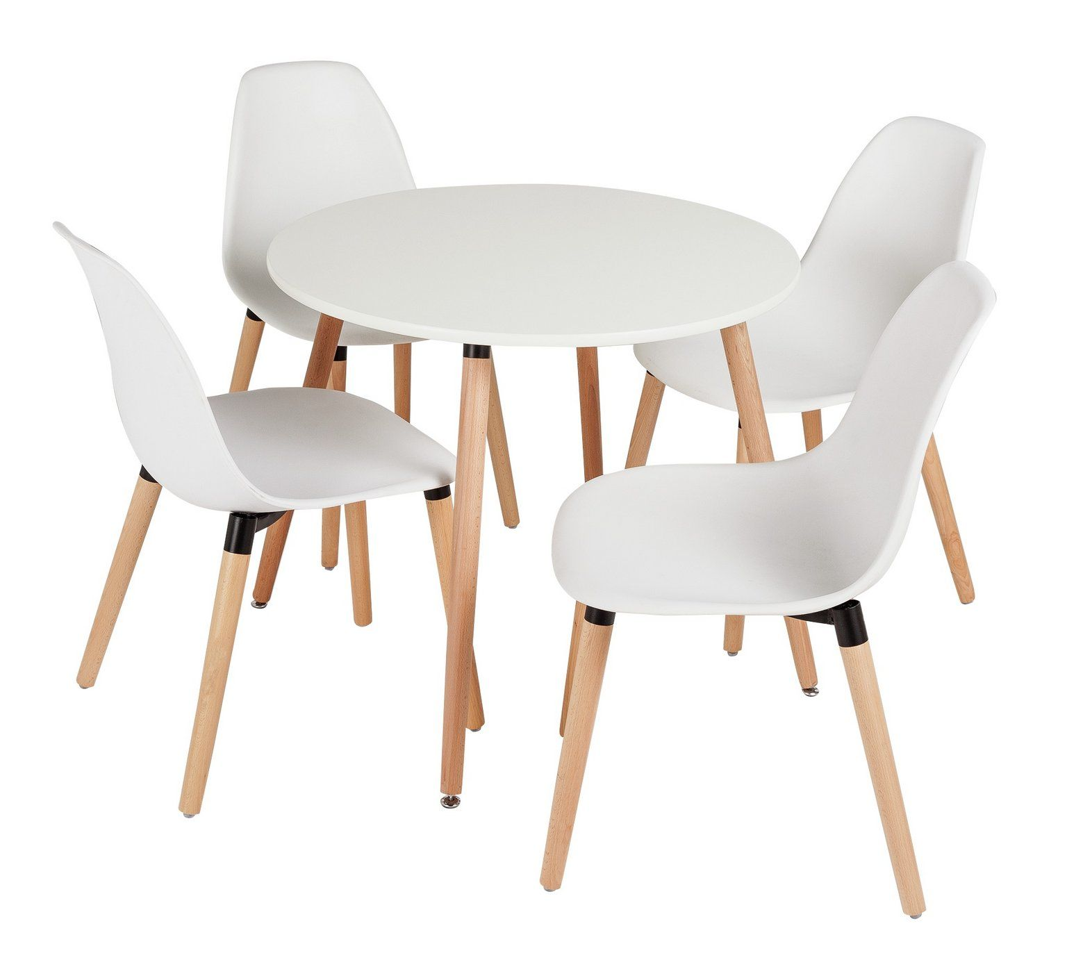 Buy HOME Berlin Round Dining Table & 4 Chairs White at Argos