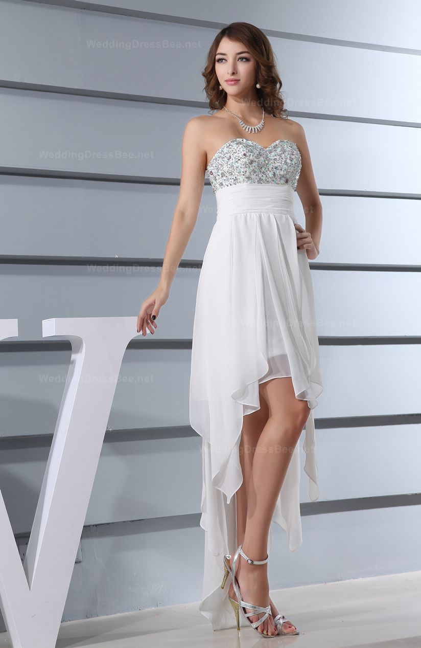dff7491337a69 Exquisite Fully Beaded Top with Empire Waist High-Low Dress A-line Princess
