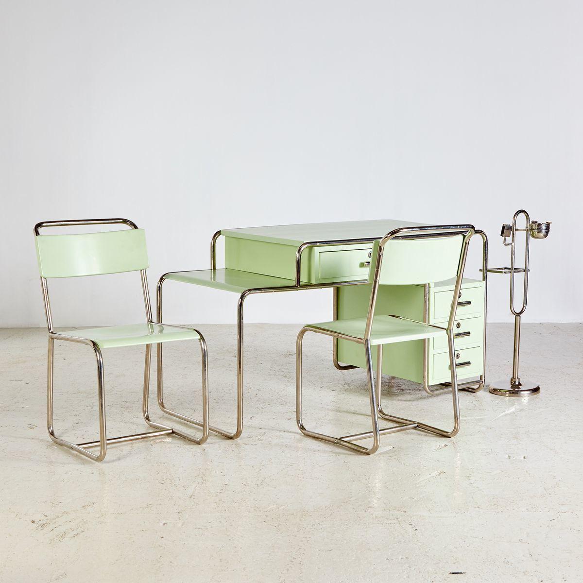 Bauhaus Style Green Work Room Set From Ideal Tubular