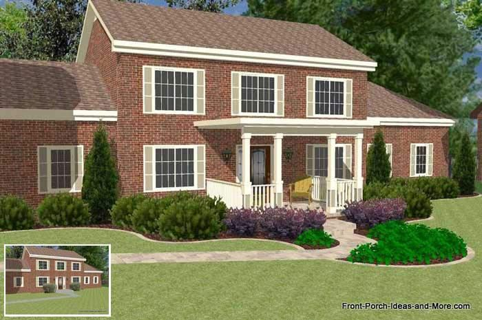 Great front porch designs illustrator on a two story home for Front porch designs for two story houses