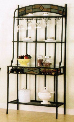 Baker Rack With Slate Inlaid In Dark Bronze Finish By Poundex