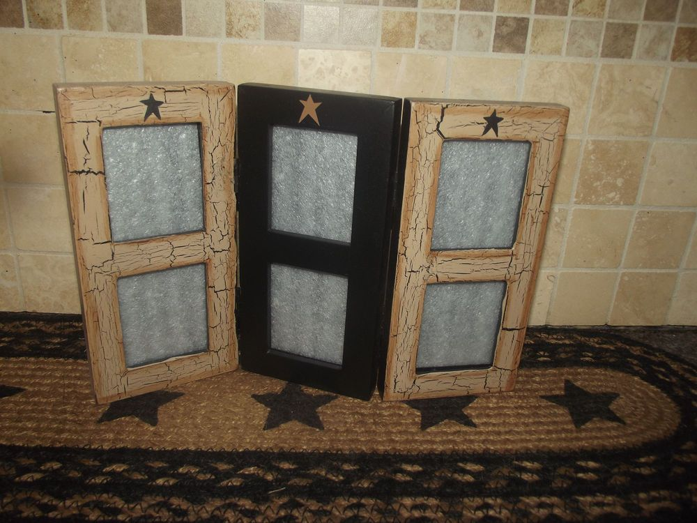Primitive Crackle Tan Wood Picture Frame Multi Photo Wallet ...