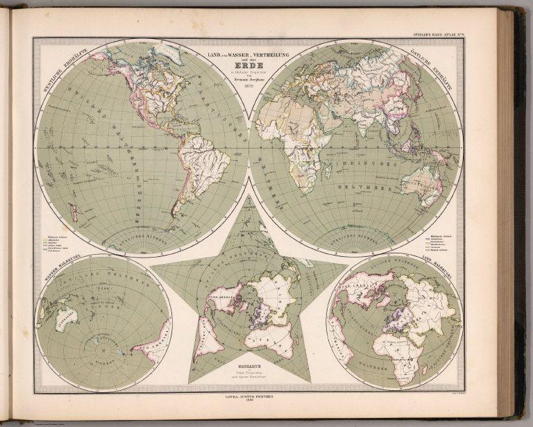 Land_und-Wasser _ Vertheilung auf der Erde (Land and Water Distribution).; Stieler, Adolf; Berghaus, Hermann; 1880; World Atlas