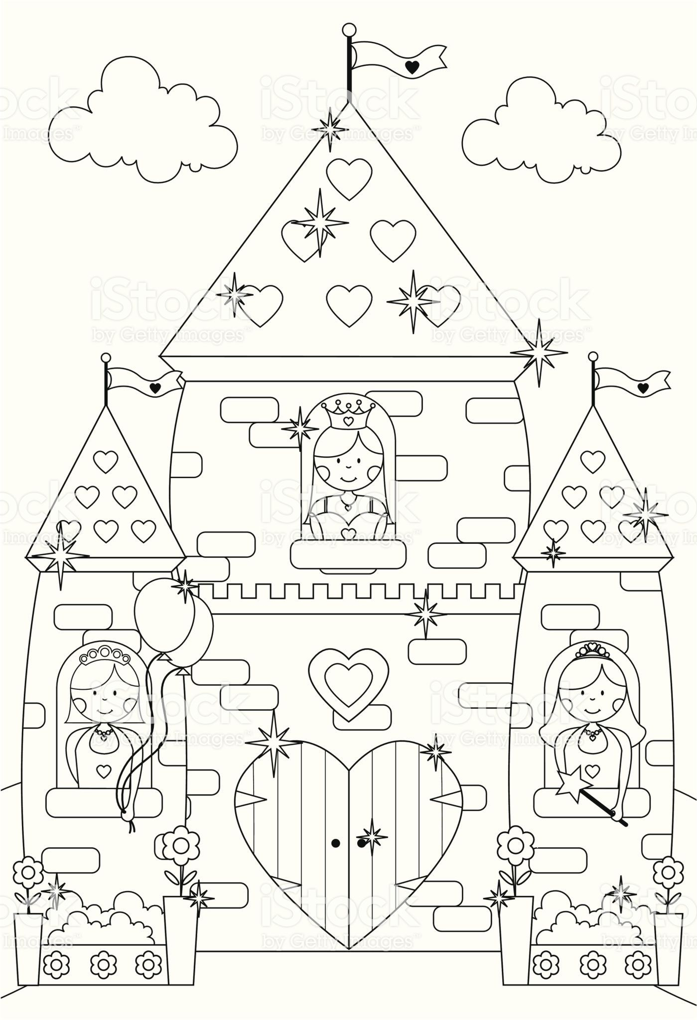 Fairy near Castle coloring page | Free Printable Coloring Pages | 2048x1399