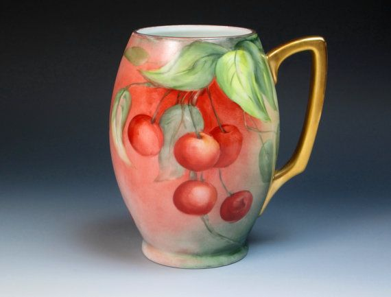 Antique Hand Painted Bavaria Porcelain Mug with Cherries by DejaVuPorcelain