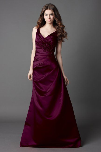 207e585ed9 Bridesmaids dresses - WToo Plum Duchess Satin floor length v-neck dress,  side draped bodice with flower and side draped skirt. Dress 866 #wedding