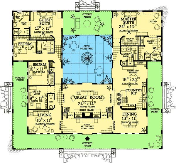 Open Courtyard Dream Home Plan Pool House Plans Mediterranean House Plans Courtyard House Plans