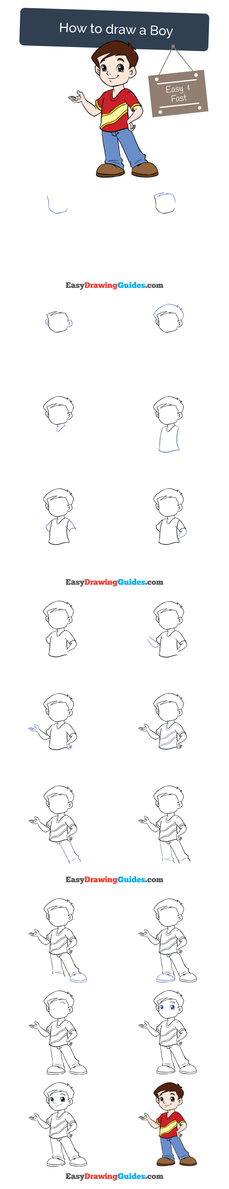 How To Draw A Boy In A Few Easy Steps Easy Drawing Guides Drawing Tutorials For Kids Easy Drawings Drawing Tutorial Easy