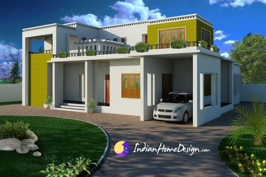 Modern contemporary flat roof indian home design by shahid flat roof modern contemporary flat roof indian home design by shahid malvernweather Images