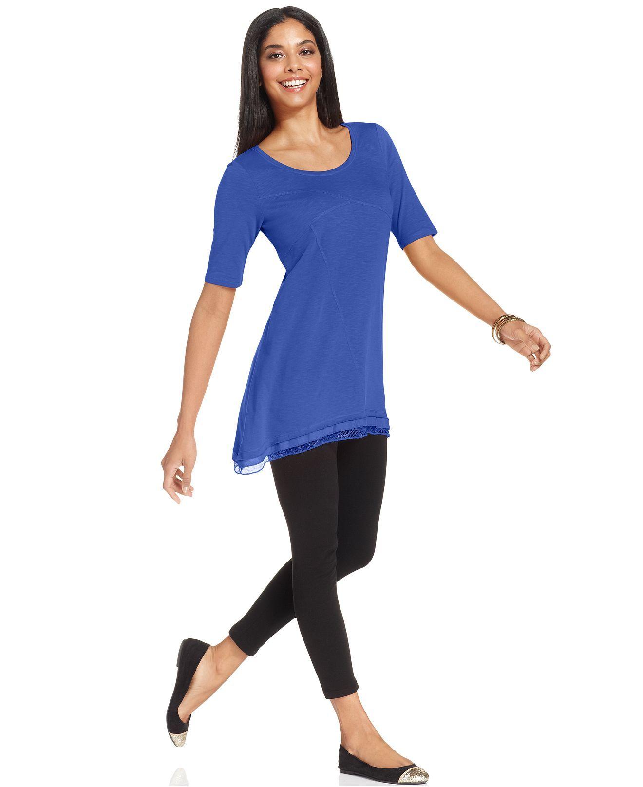 Style Co Short Sleeve Lace Hem Tunic Tops Women