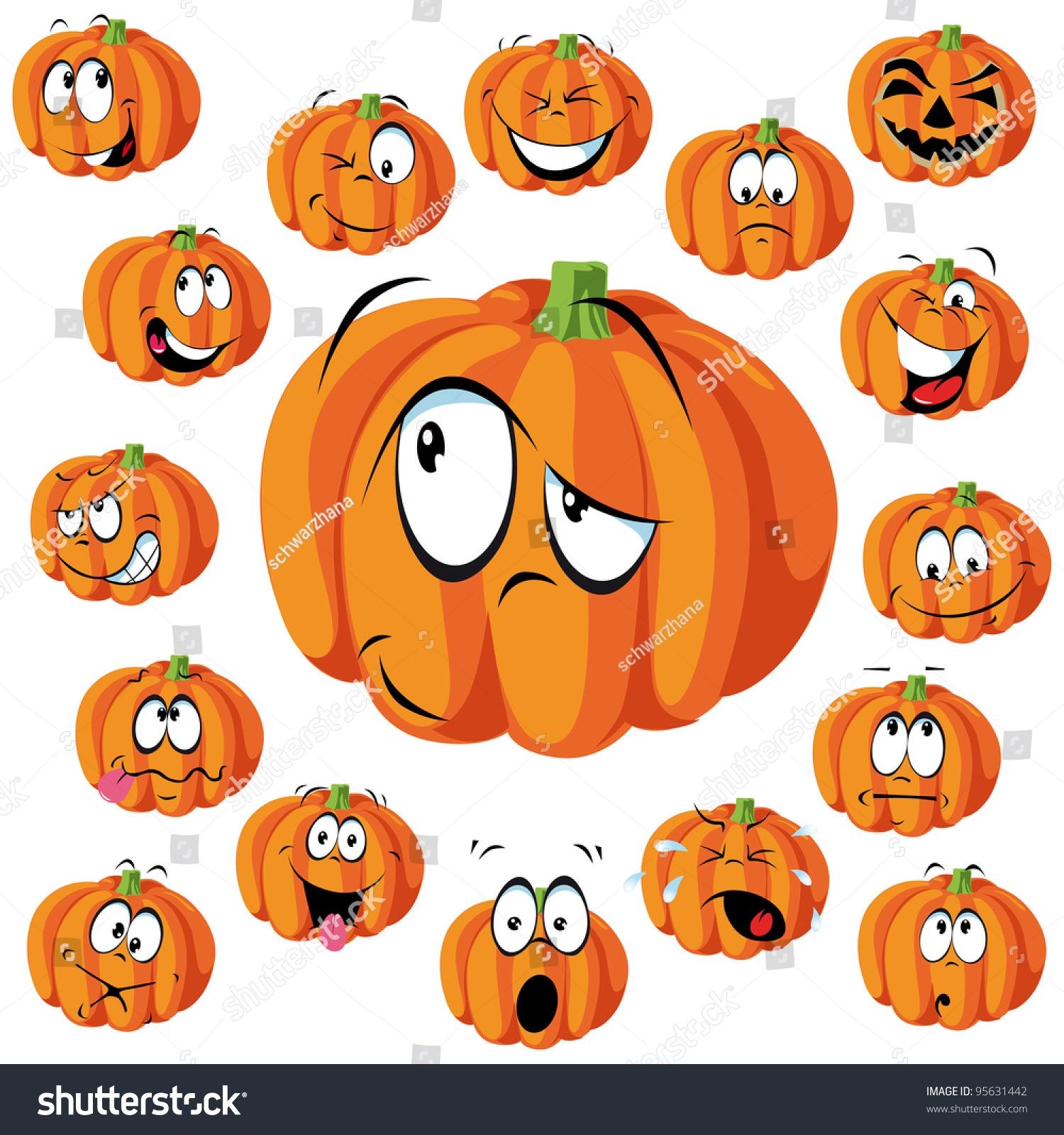 Pumpkin Cartoon With Many Expressions Halloween Cartoons Pumpkin Drawing Pumpkin Faces