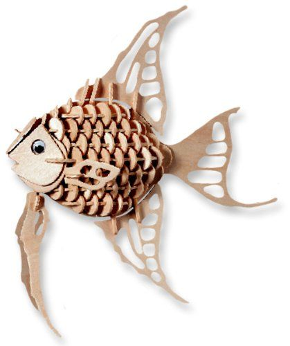 3-D Wooden Puzzle - Small Angel Fish -Affordable Gift for your Little One! Item #DCHI-WPZ-H010A
