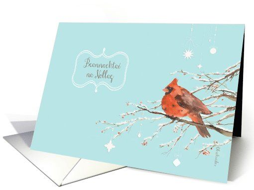 Merry christmas in irish gaelic red cardinal bird watercolor card merry christmas in irish gaelic red cardinal bird watercolor card reheart Image collections