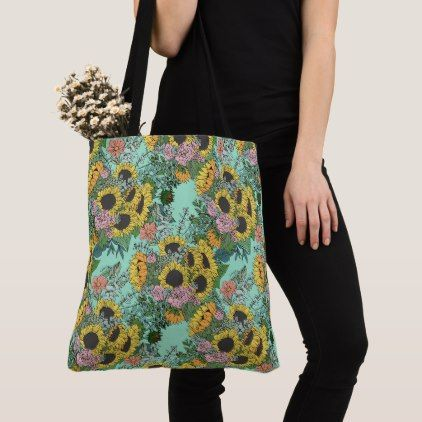 Trendy yellow sunflowers and pink roses design tote bag | Zazzle.com #christmasbackgrounds