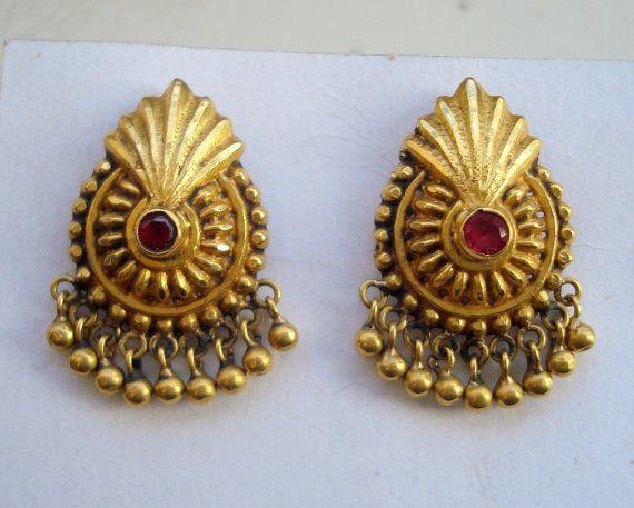 vintage antique ethnic 18k gold earrings ear plug handmade