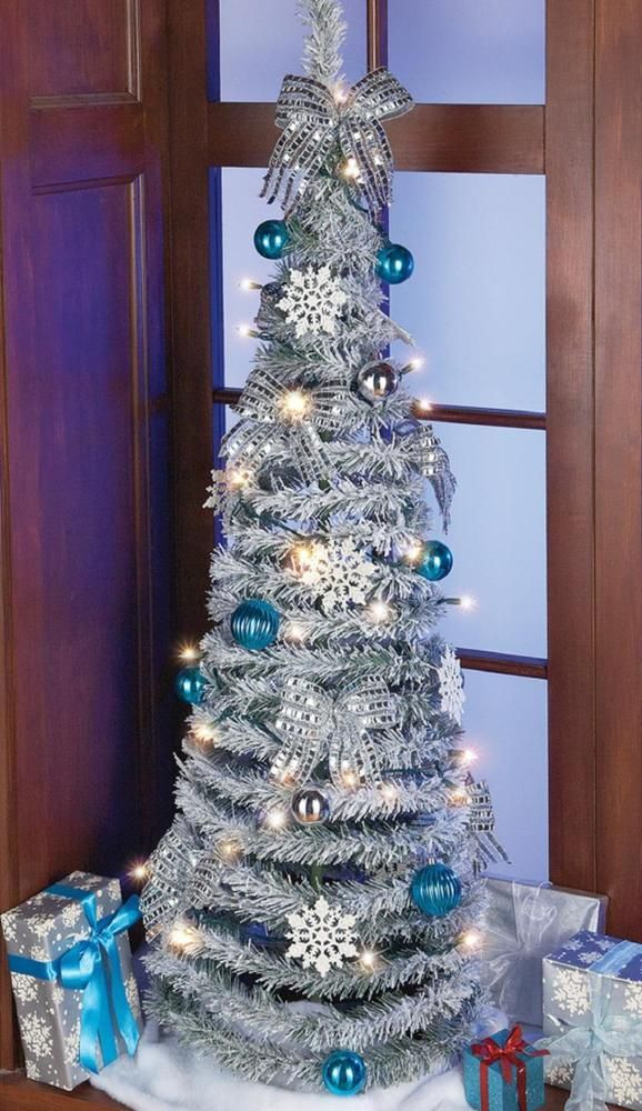 """Frosted Pop-Up Spiral Lighted Tabletop Christmas Tree w Snowflake Ornaments  53""""H. This beautiful tree pops up in seconds. - Frosted Pop-Up Spiral Lighted Tabletop Christmas Tree W Snowflake"""