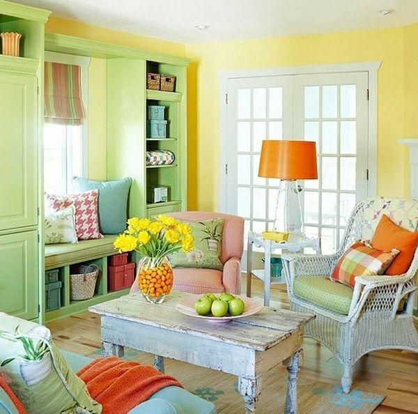 cool Wandfarben fürs Wohnzimmer u2013 100 trendy Wohnideen für Ihre - wandgestaltung wohnzimmer orange