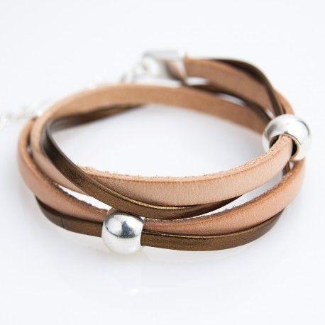 Bracelet cuir double tour naturel et cuivré
