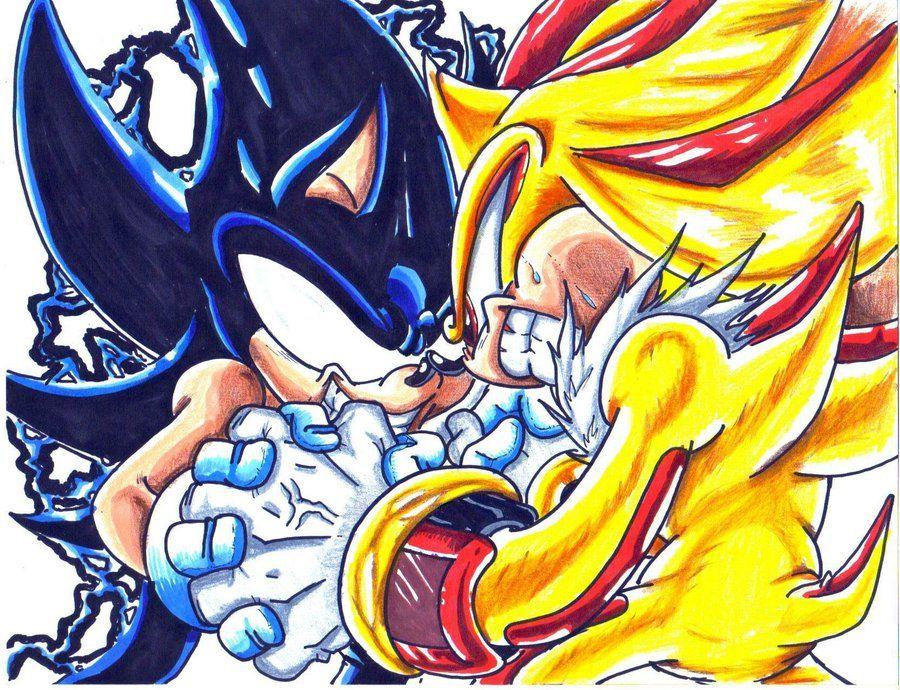 Dark Sonic vs. Super Shadow art