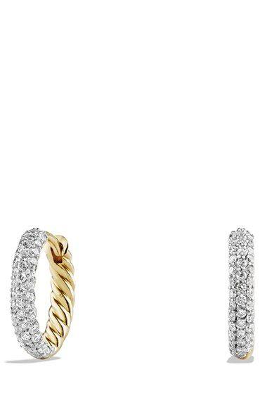 ed998cb07ce52 David Yurman 'Petite Pavé' Earrings with Diamonds in 18K Gold at ...