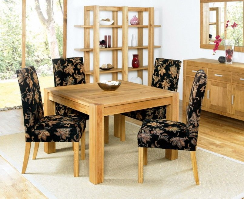 Gentil Furniture, Captivating Simple Dining Room With Dining Table Made Of Wood  And Wooden Floor Also Floral Patterned Chair With Solid Wood Table And  White Globe ...